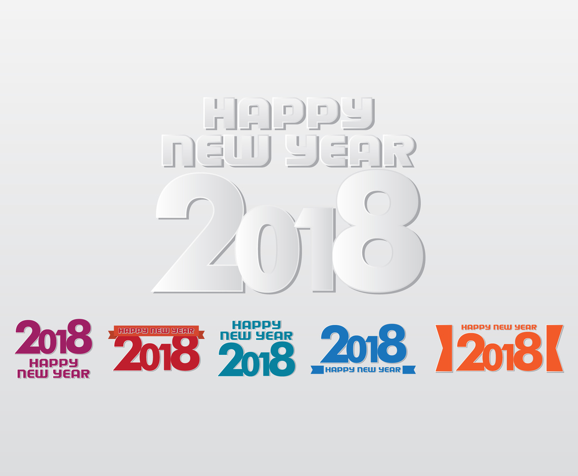 Happy New Year 2018 Paper Vectors