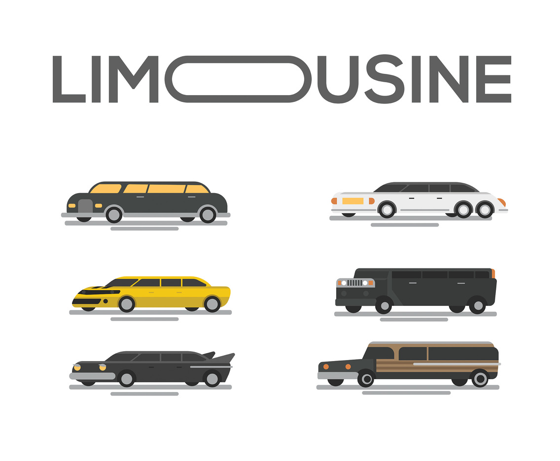 Limousine Vector White Background