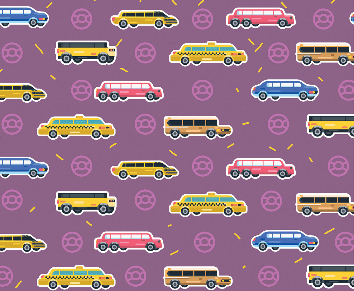 Limousine Vector Pattern Purple Background