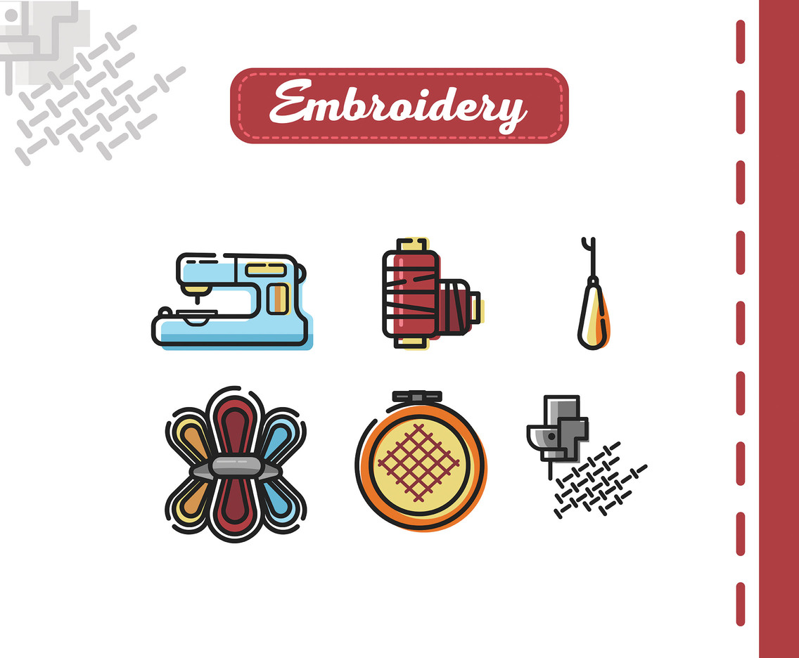 Embroidery Vector White Background