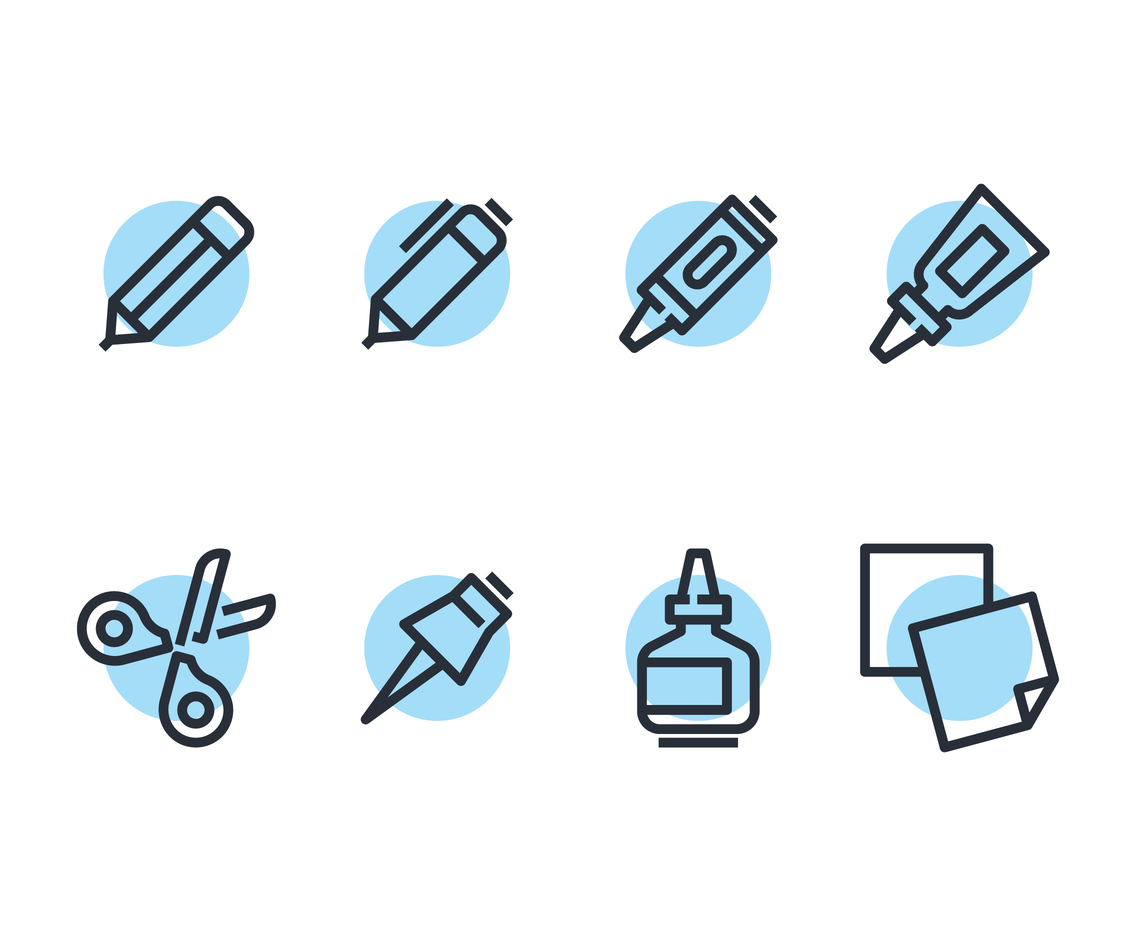 School Supplies Line Icon Vectors
