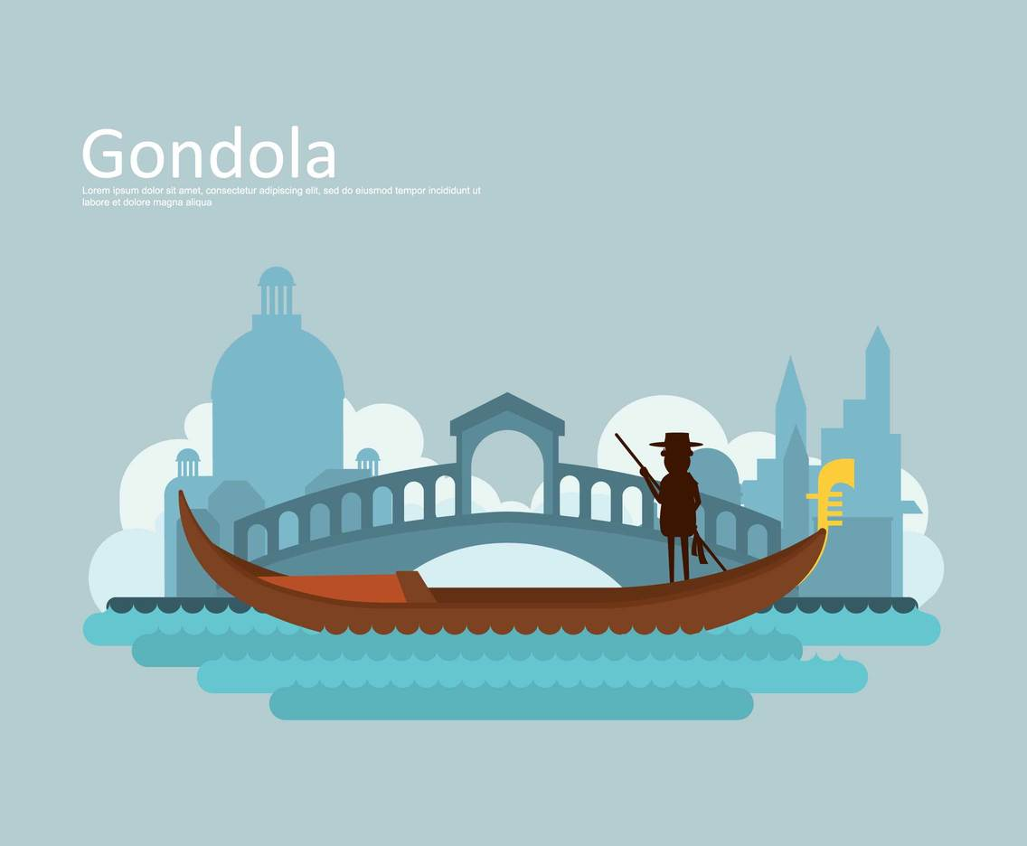 Free Gondola With Venice Buildings Silhouette Illustration