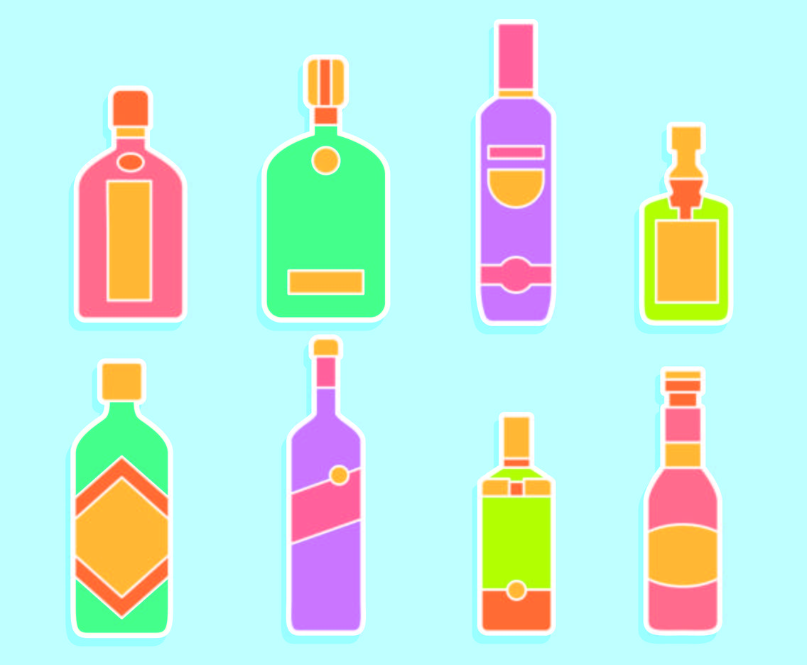 Vodka Bottle On Blue Vector