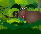 Hippo in the forest vector