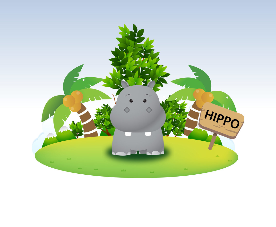 Funny Hippo Character Vector