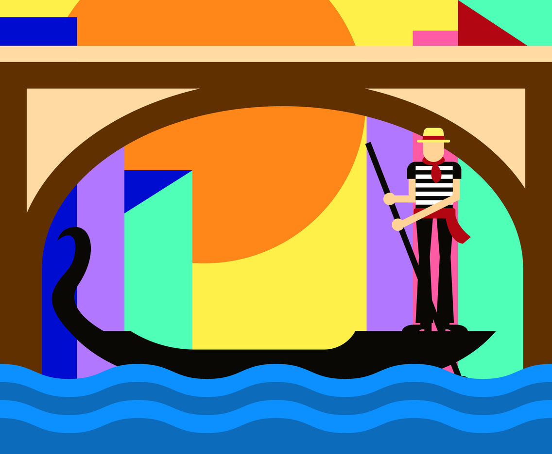 Funky Gondola Illustration Vector