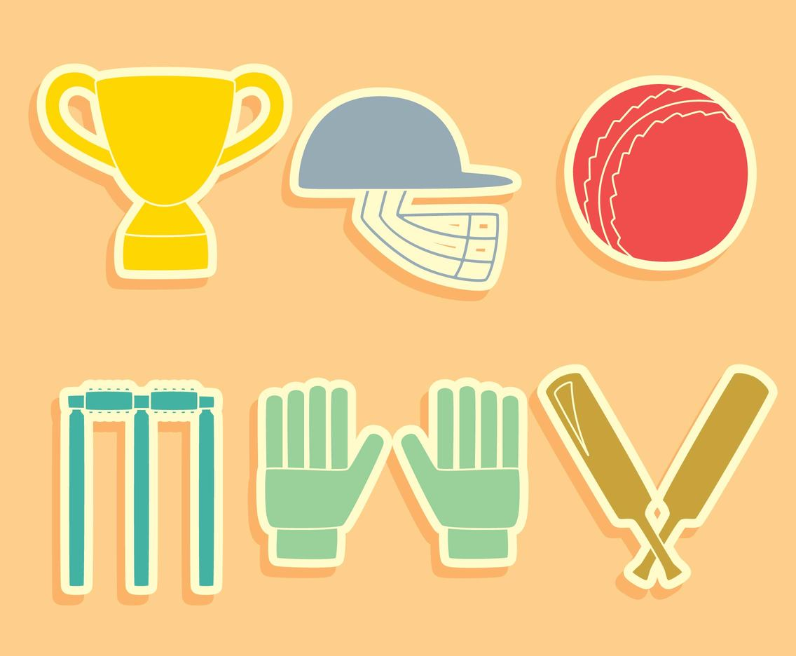 Cricket Element Vector Set