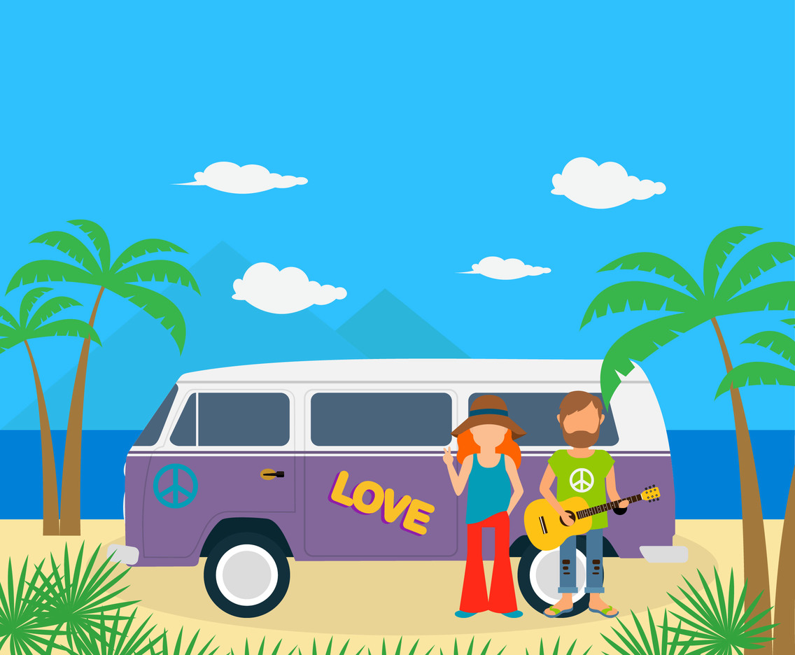 Hippies With Caravan Vector
