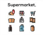 Supermarket Vector White Background