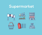 Supermarket Vector Blue Background