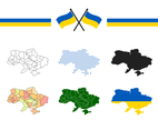 Ukraine Flag And Map Vector