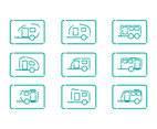 Caravan trailer lines icon set
