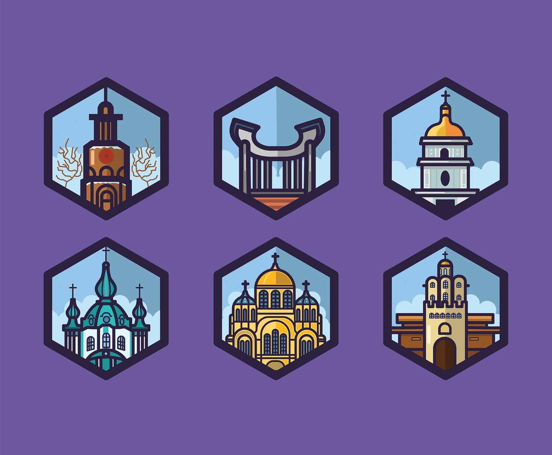 Ukraine Vector Purple Background