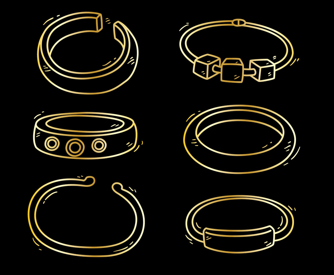 Sketch Golden Bracelet Vector