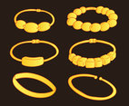 Hand Drawn Gold Bracelet Collection Vector