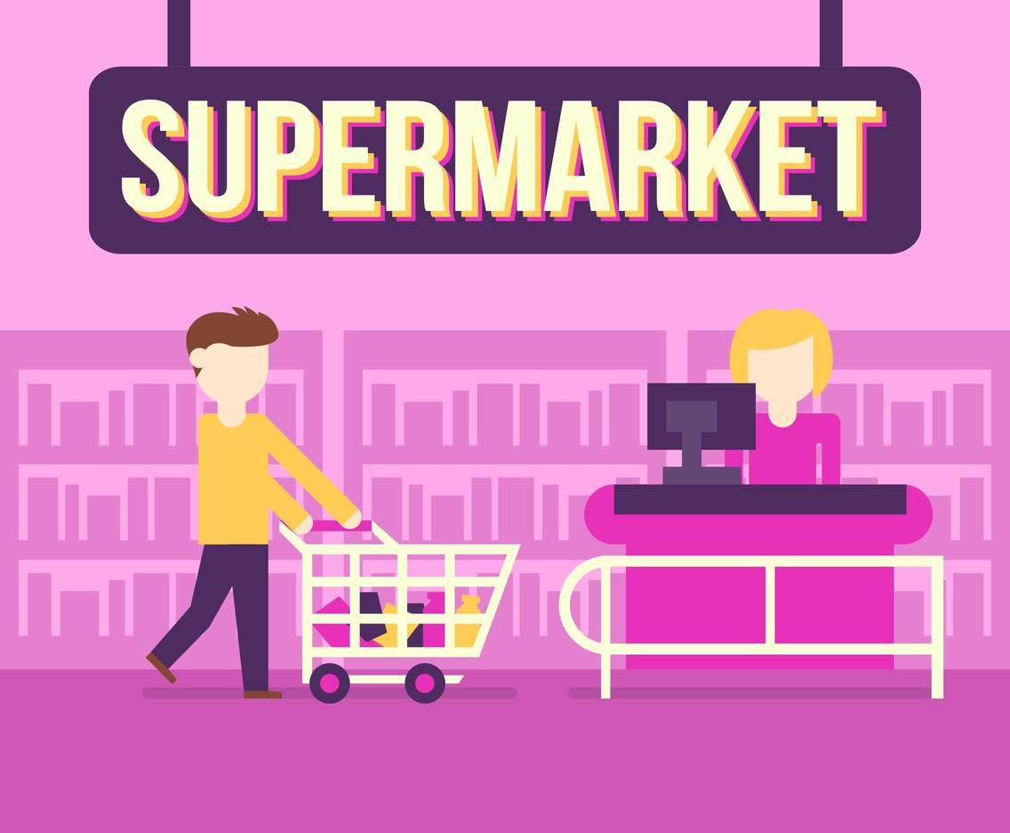 Supermarket Shop Buy Vector Illustration