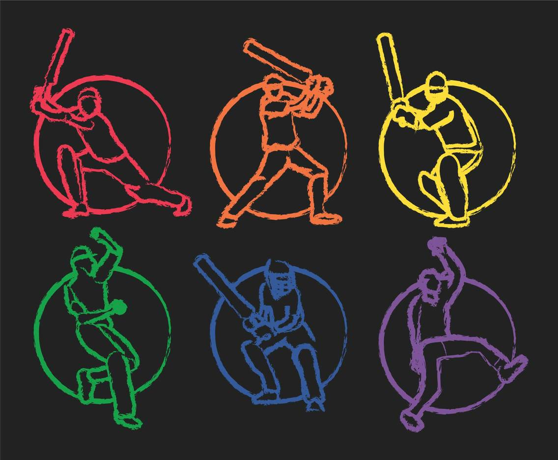 Cricket vector set