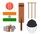 Set Of Cricket Vector