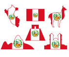 Peru Icon Landmark and Animal Vector