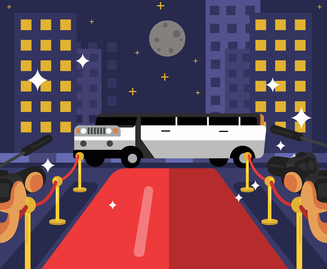 Limousine on the Red Carpet Illustration Vector