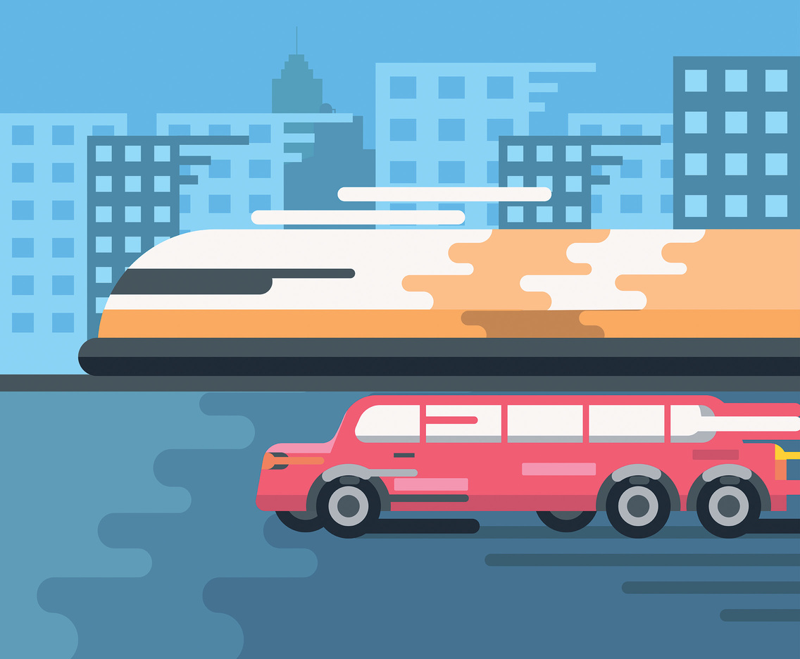 Pink Limousine and Train Vector