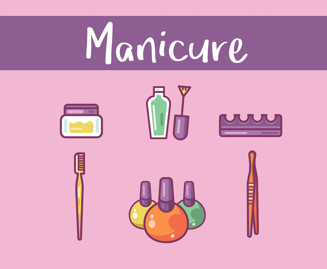 Manicure Vector Purple Background