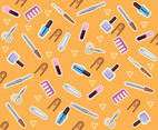 Manicure Vector Pattern Orange Background