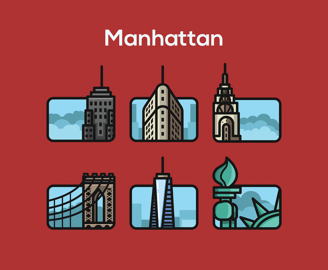 Manhattan Vector Red Background