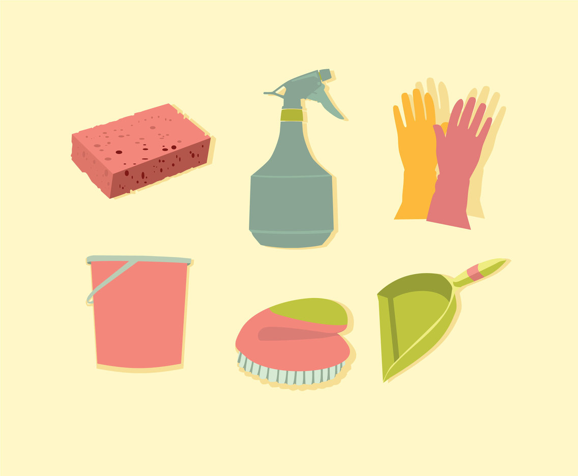 Spring Cleaning Tools Vector