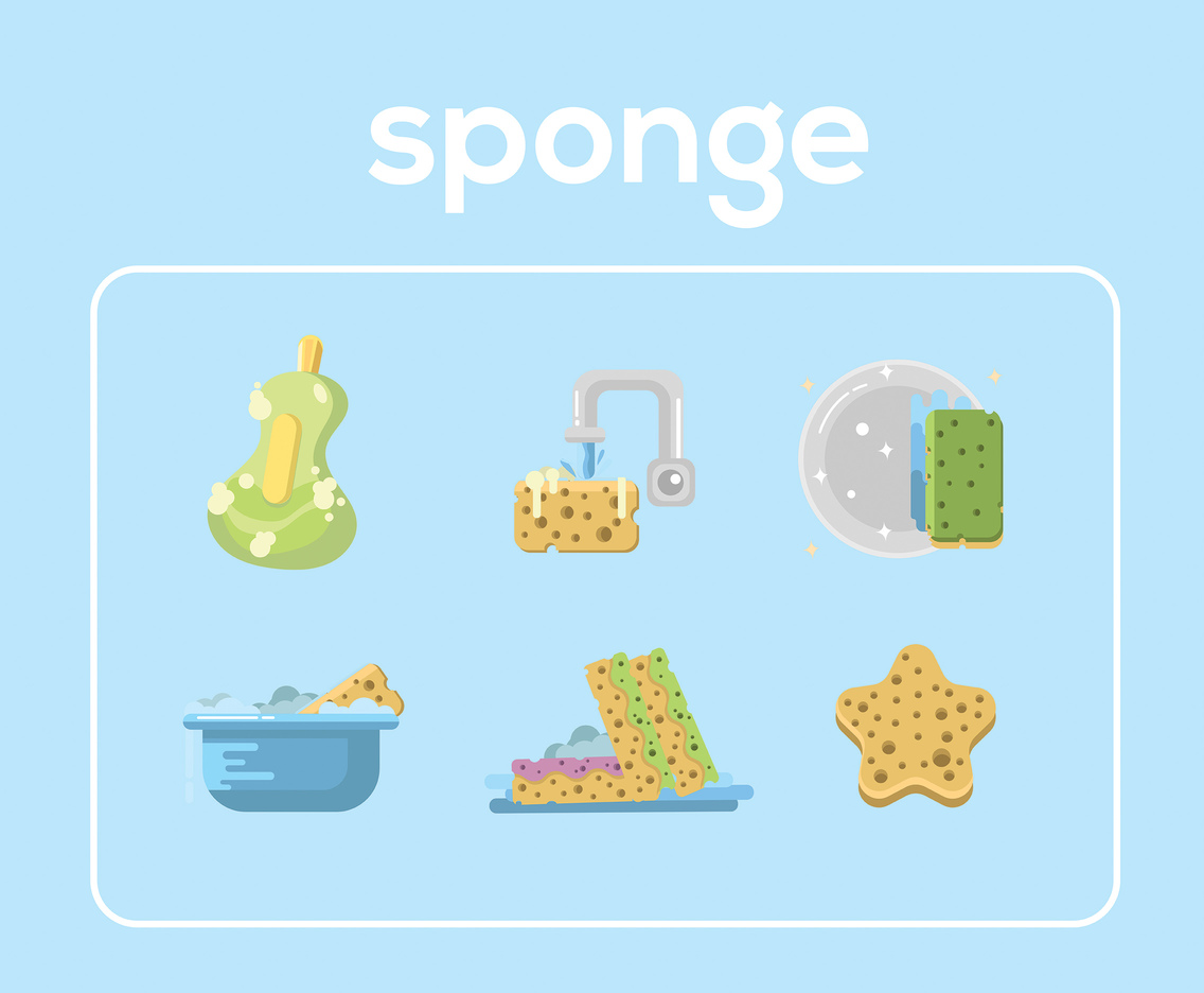 Sponge Flat Vector Blue Background