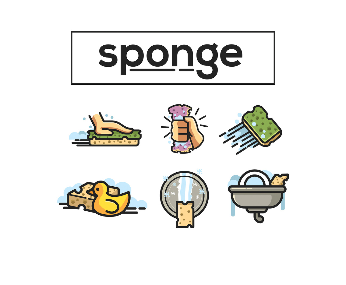Sponge Vector White Background
