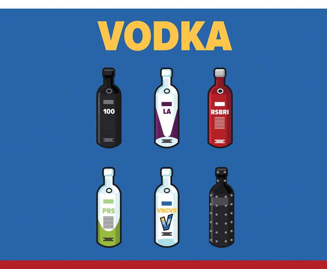 Vodka Vector Blue Background