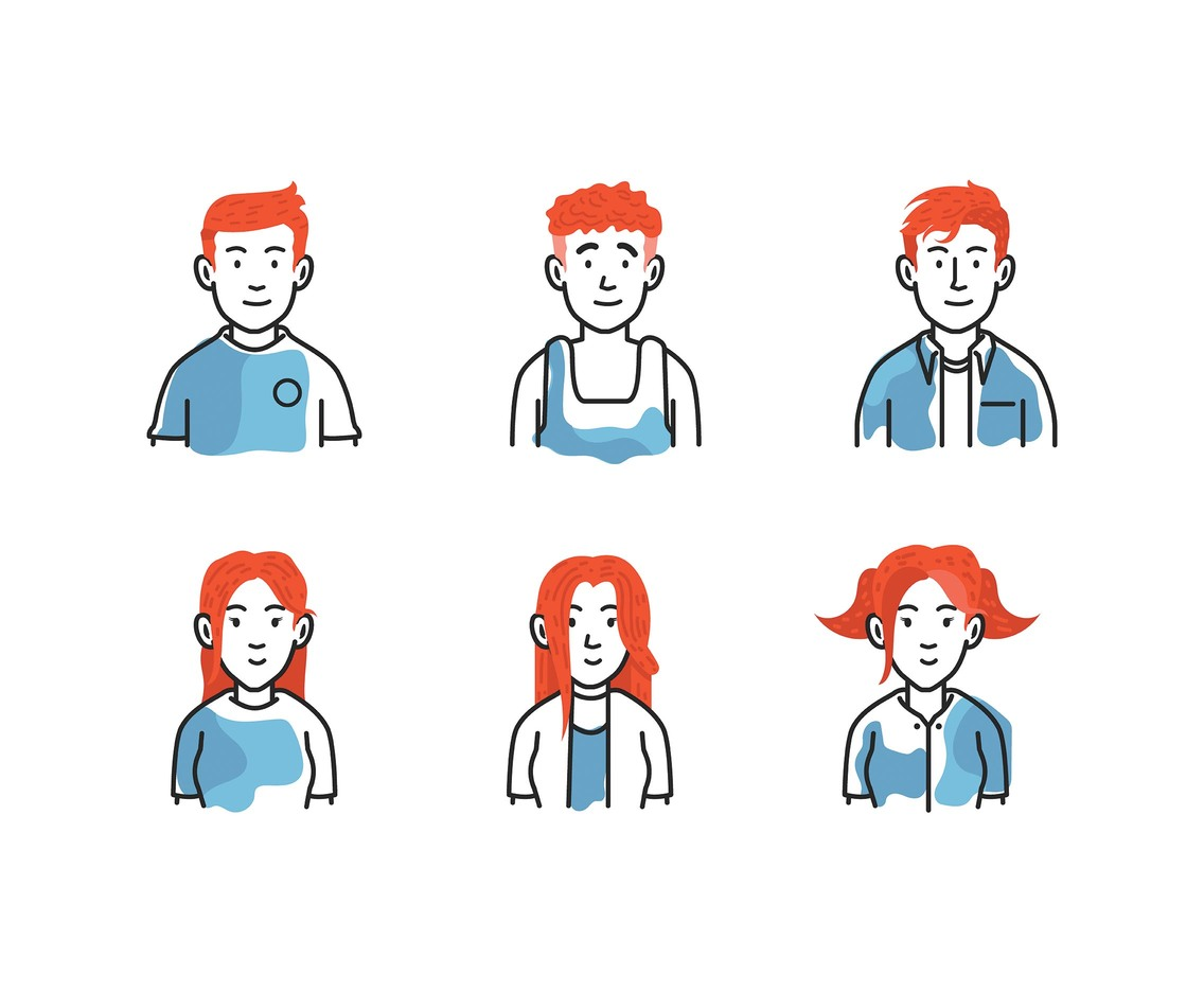 Redhead Vector White Background