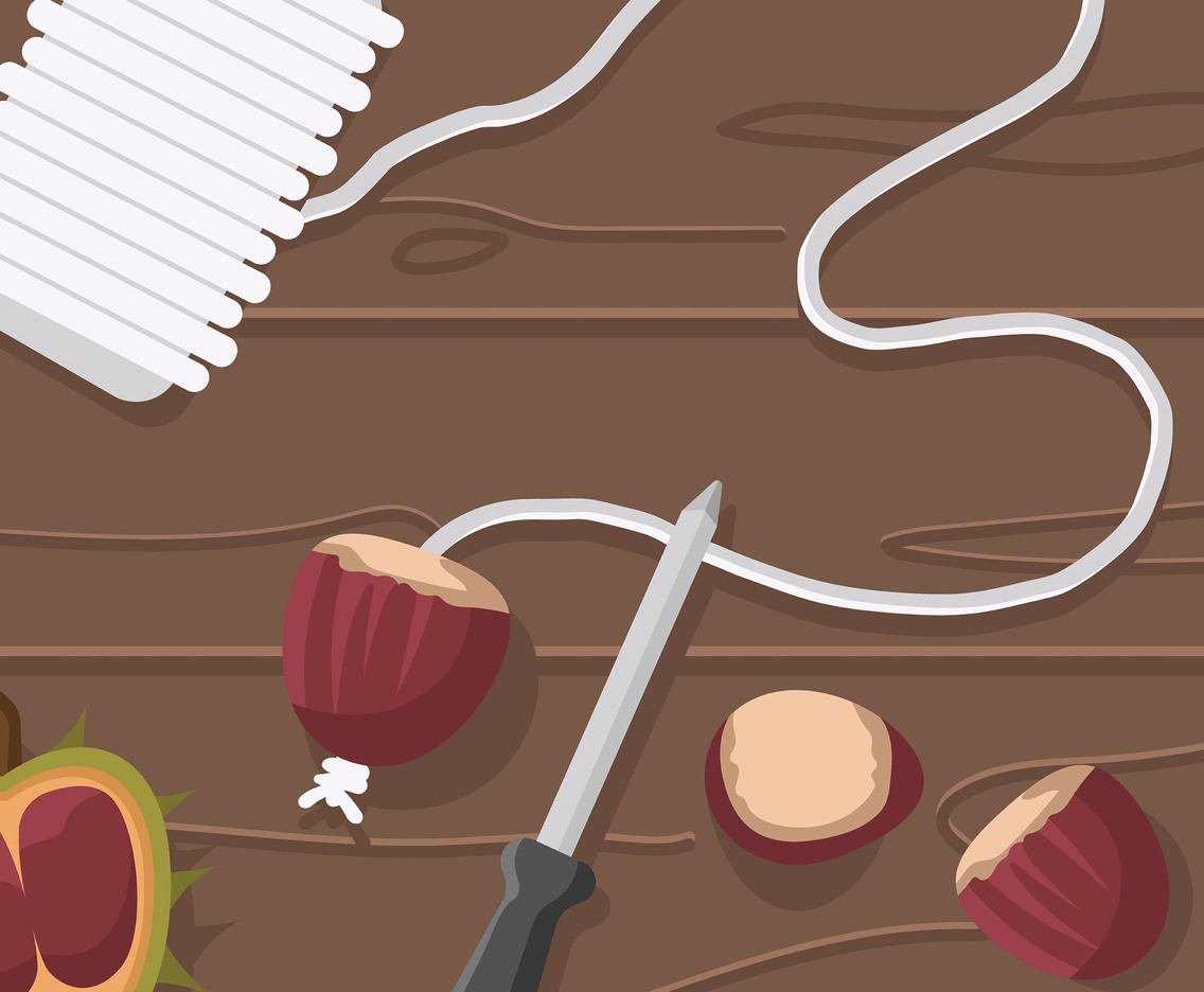 Making a Chestnut Garland Illustration Vector