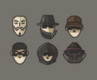 Anonymous Avatar Vectors Gray Background