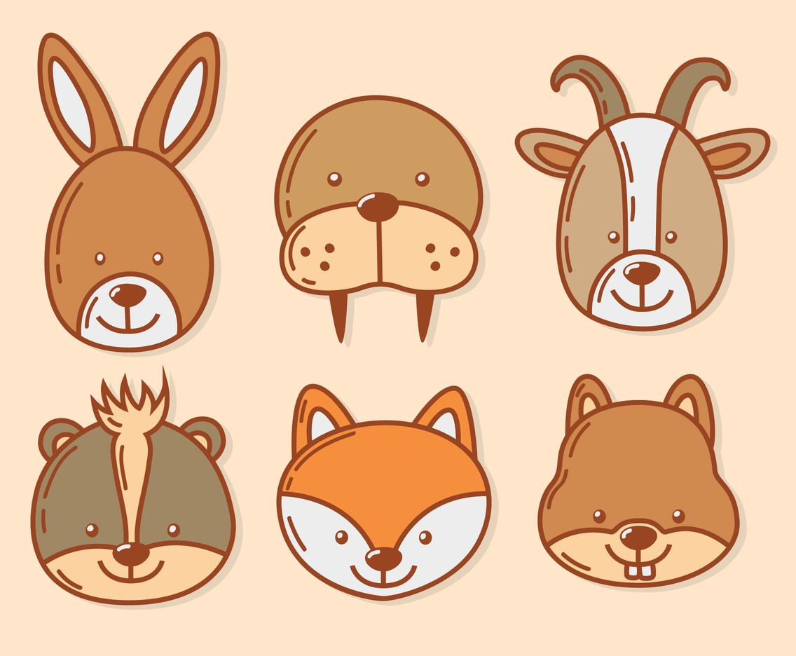 Hand Drawn Cute Animal Face Vector