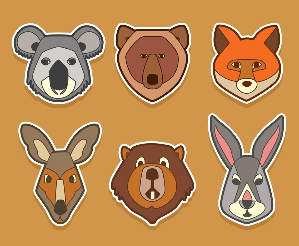 Animal Face Collection Vector