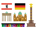 Berlin Landmark And Flag Vector