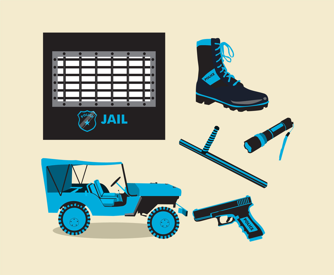 Police Patrol and Jail Vector