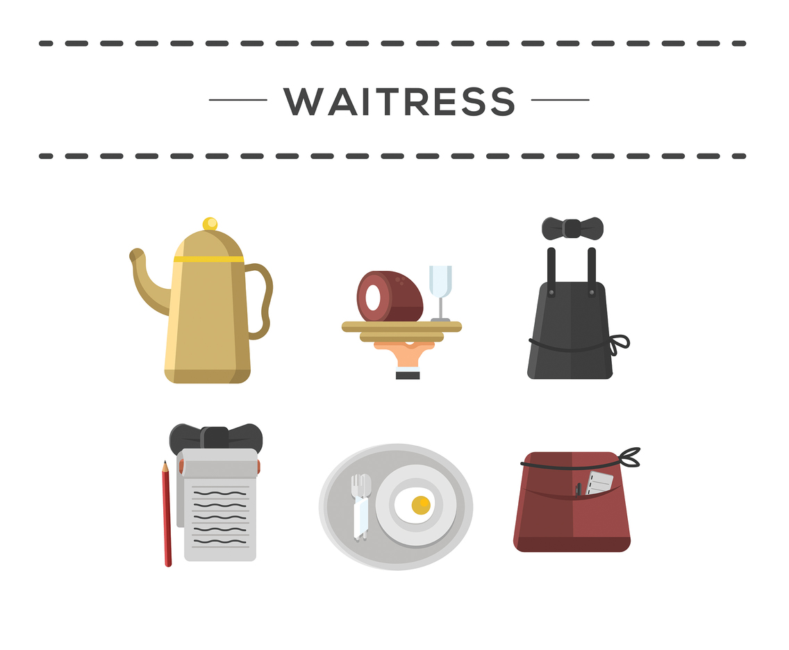 Waitress Icon Vector White Background