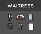 Waitress Icon Vector Dark Background