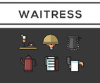 Waitress Icon Vector Black Background