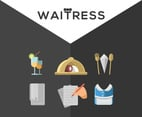 Waitress Icon Collection Vector