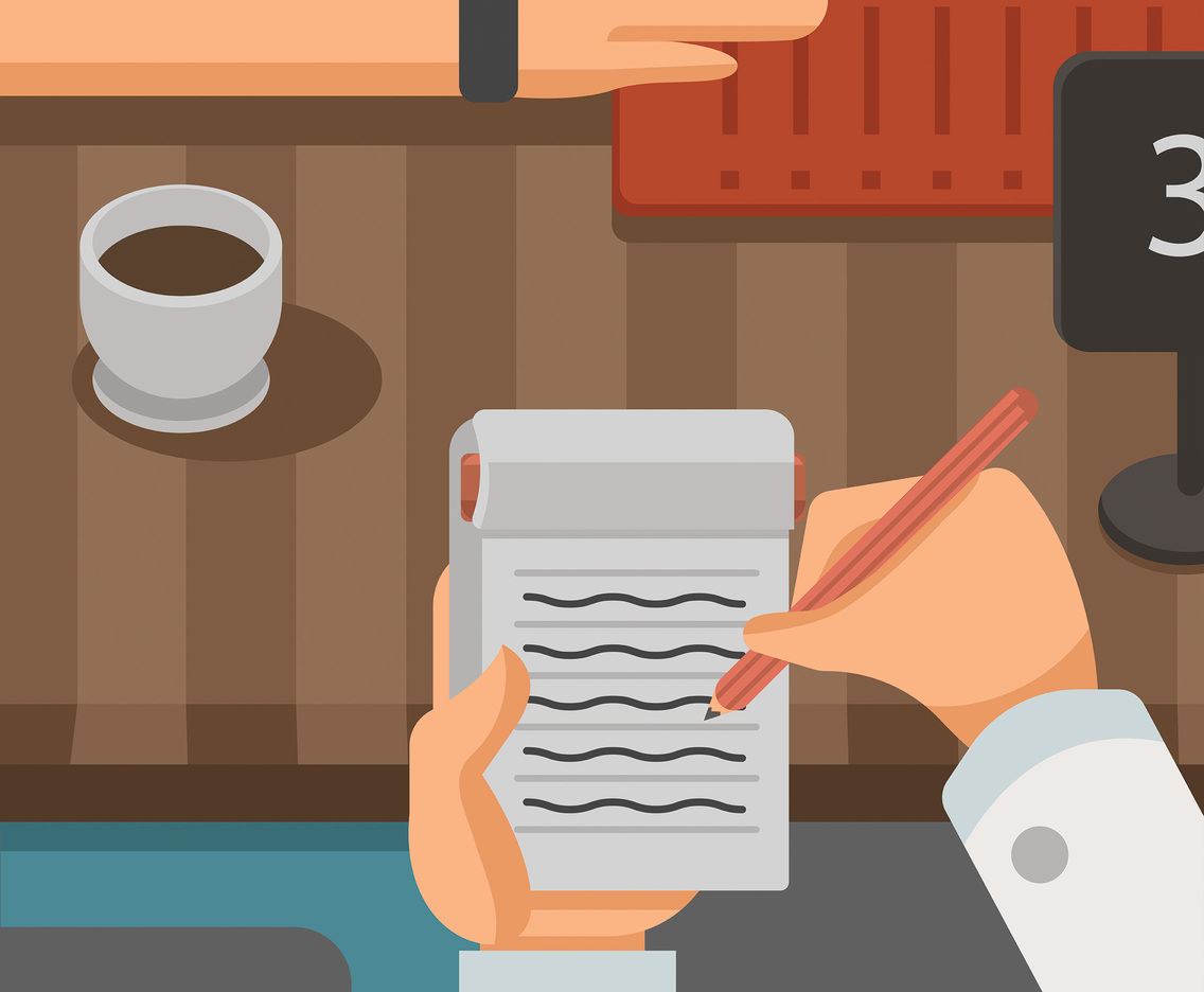 Waitress Writing Down Order Vector