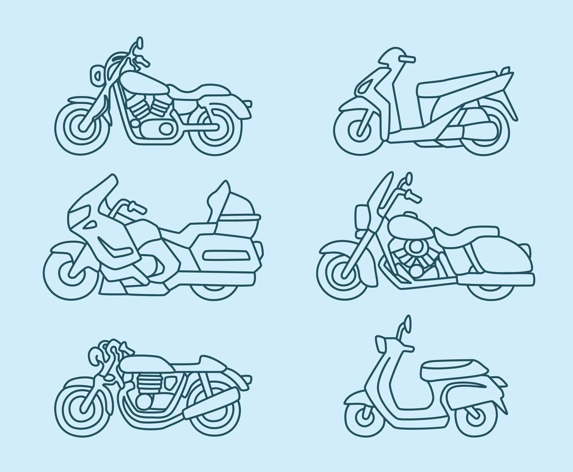 Motocycle Line Vector Collection Vector