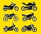Silhouette Motocycle Icons Vector