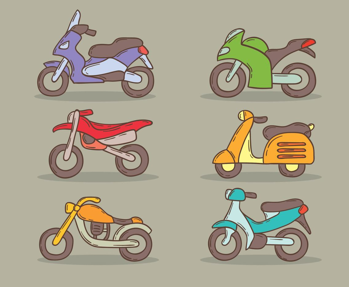 Hand Drawn Motocycle Collection Vector