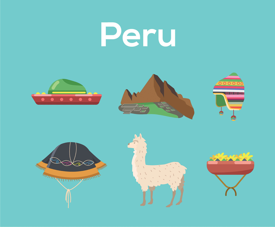 Peru Vector Blue Background