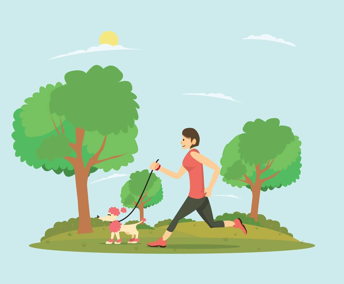Girl Running with her Poodle In The Morning Illustration