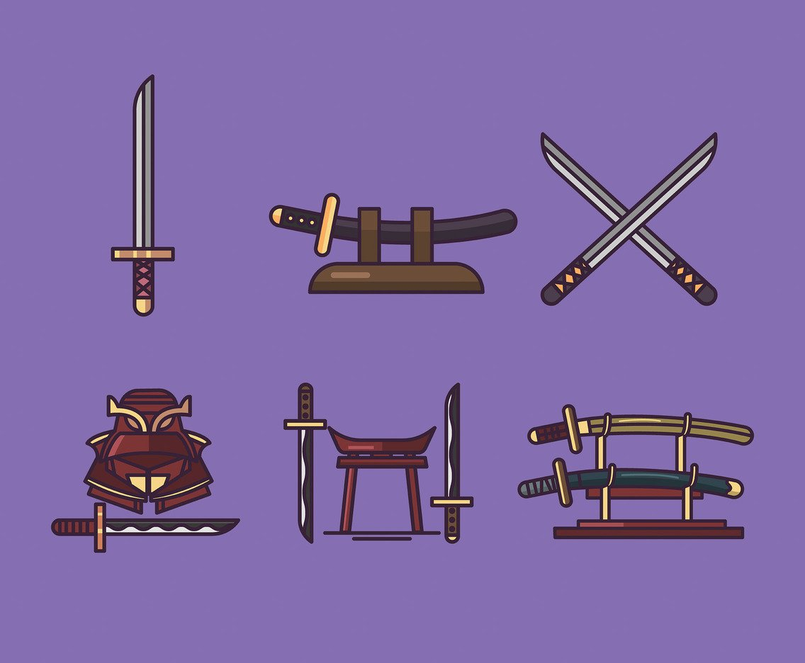 Katana Vector Purple Background